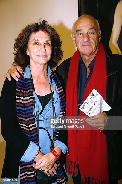 Producer Fabienne ServanSchreiber and politician Henri Weber attend the 'Marcel Duchamp La Peinture Meme' Exhibition Press Preview Held at Centre...