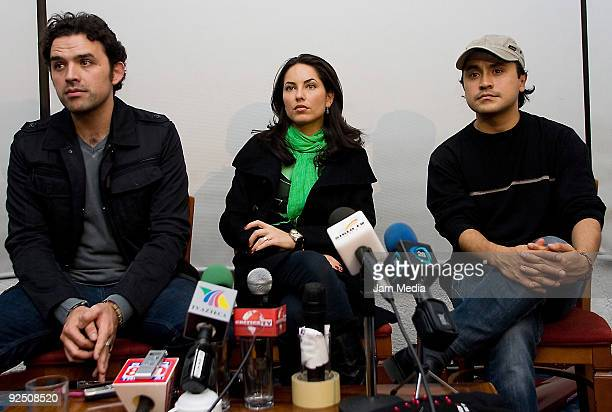 Producer Fernando Rovzar Barbara Mori and director Alfonso Pineda during a press conference to announce the movie 'Amor Dolor y Viceversa' at Hotel...