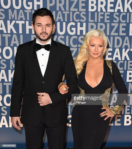 Producer Fiance Matthew Rutler and Singer Christina Aguilera arrive at the 3rd Annual Breakthrough Prize Award Ceremony at NASA Ames Research Center...
