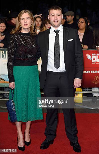Producer Finola Dwyer and Emory Cohen attend a screening of Brooklyn during the BFI London Film Festival at Odeon Leicester Square on October 12 2015...