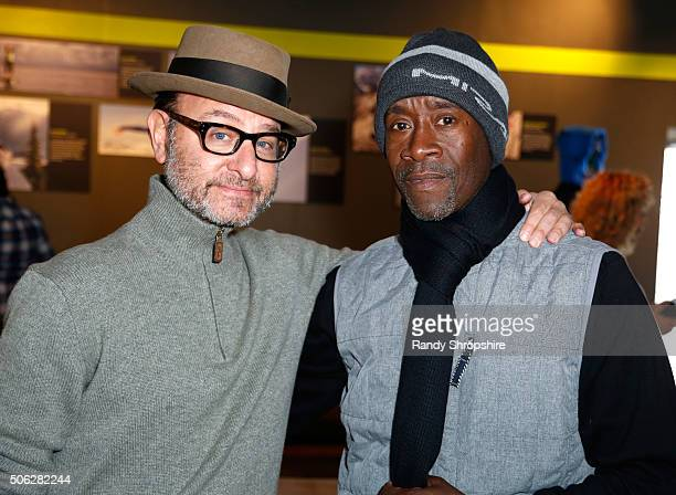 Producer Fisher Stevens and actor Don Cheadle attend the Eddie Bauer Adventure House during the 2016 Sundance Film Festival at Village at The Lift on...