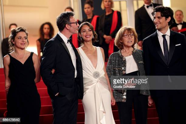 Producer Florence Gastaud director Michel Hazanavicius actors Berenice Bejo Anne Wiazemsky and Louis Garre attend the 'Redoubtable ' screening during...