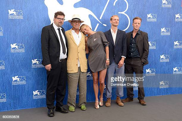 Producer Florian Deyle director Andrej Koncalovskij actors Julia Vysotskaya actor Christian Clauss and Jakob Diehl attend a photocall for 'Paradise'...