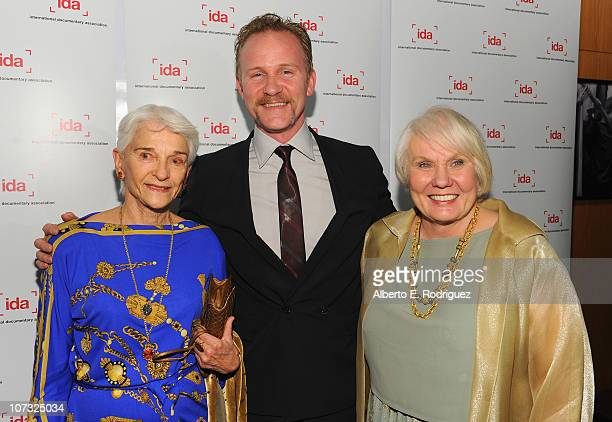 Producer Frances 'Sissy' Farenthold director Mary Ann Smothers Bruni and host Morgan Spurlock arrive at the International Documentary Association's...