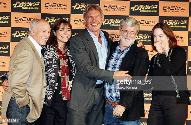 Producer Frank Marshall actors Karen Allen and Harrison Ford excutive producer and writer George Lucas and producer Kathleen Kennedy pose during a...