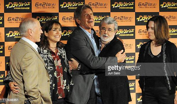 Producer Frank Marshall actors Karen Allen Harrison Ford excutive producer/writer George Lucas and producer Kathleen Kennedy attend Indiana Jones and...