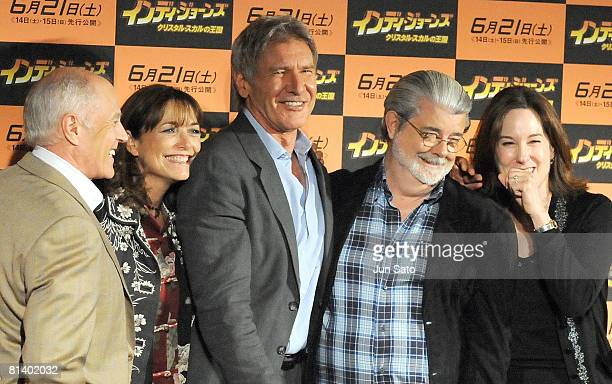 Producer Frank Marshall actors Karen Allen Harrison Ford excutive producer/ writer George Lucas and producer Kathleen Kennedy attend Indiana Jones...