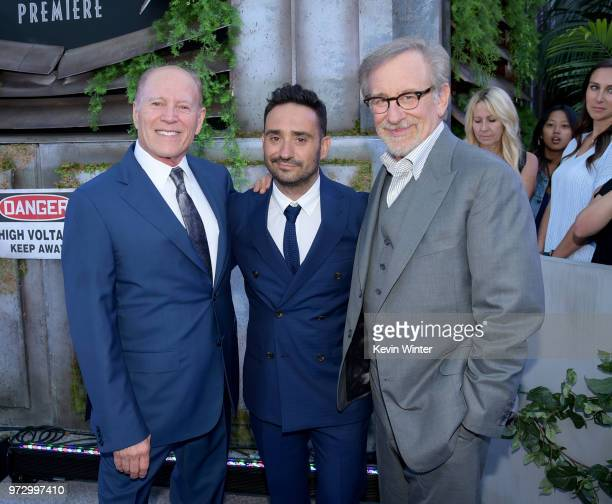 Producer Frank Marshall director JA Bayona and executive producer Steven Spielberg arrive at the premiere of Universal Pictures and Amblin...
