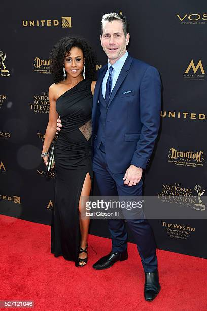 Producer Frank Valentini and Vinessa Antoine walk the red carpet at the 43rd Annual Daytime Emmy Awards at the Westin Bonaventure Hotel on May 1 2016...