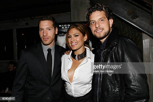 Producer Gabe Polsky Eva Mendes and Producer Alan Polsky attend the 'Bad Lieutenant' New York Premiere Afterparty at Avenue Bar and Restaurant on...
