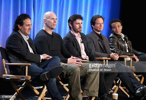 Producer Gabe Sachs, producer Jeff Judah and actors Eoin Macken, Scott Wolf, and Robert Bailey, Jr. Speak onstage during the 'The Night Shift' panel...