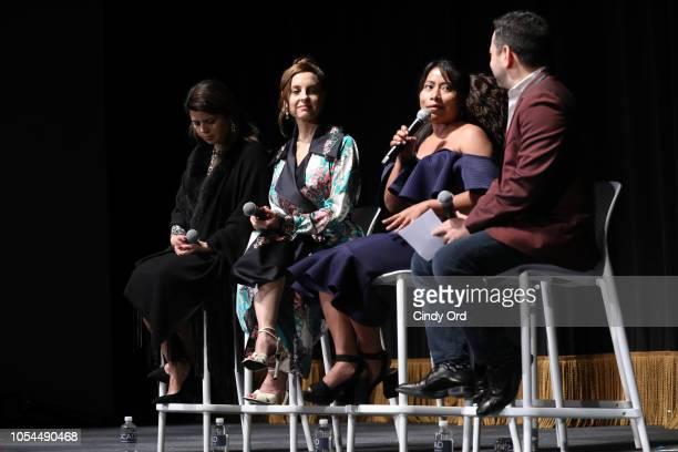 Producer Gabriela Rodriguez, Actor Marina de Tavira, Actor Yalitza Aparicio, and Scott Feinberg speak at the Q&A of 'Roma' during the 21st SCAD...