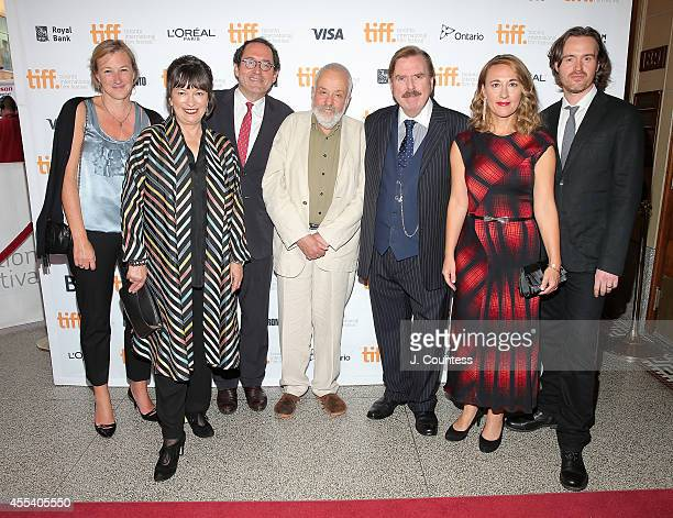 Producer Gail Egan actress Marion Bailey copresident of Sony Pictures Classics Michael Barker writer/ director Mike Leigh actor Timothy Spall actress...
