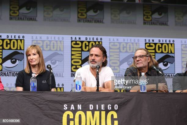 Producer Gale Anne Hurd actor Andrew Lincoln and producer Greg Nicotero from 'The Walking Dead' at the Hall H panel with AMC at San Diego ComicCon...