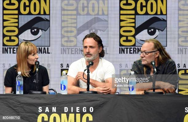Producer Gale Anne Hurd actor Andrew Lincoln and producer Greg Nicotero speak onstage at ComicCon International 2017 AMC's 'The Walking Dead' panel...