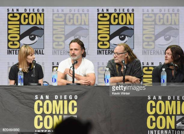 Producer Gale Anne Hurd actor Andrew Lincoln producer Greg Nicotero and actor Norman Reedus speak onstage at ComicCon International 2017 AMC's 'The...