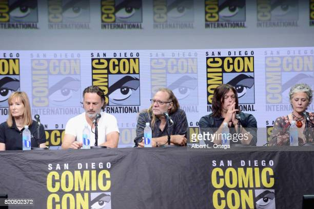 Producer Gale Anne Hurd actor Andrew Lincoln producer/director Greg Nicotero actors Norman Reedus and Melissa McBride speak onstage at ComicCon...