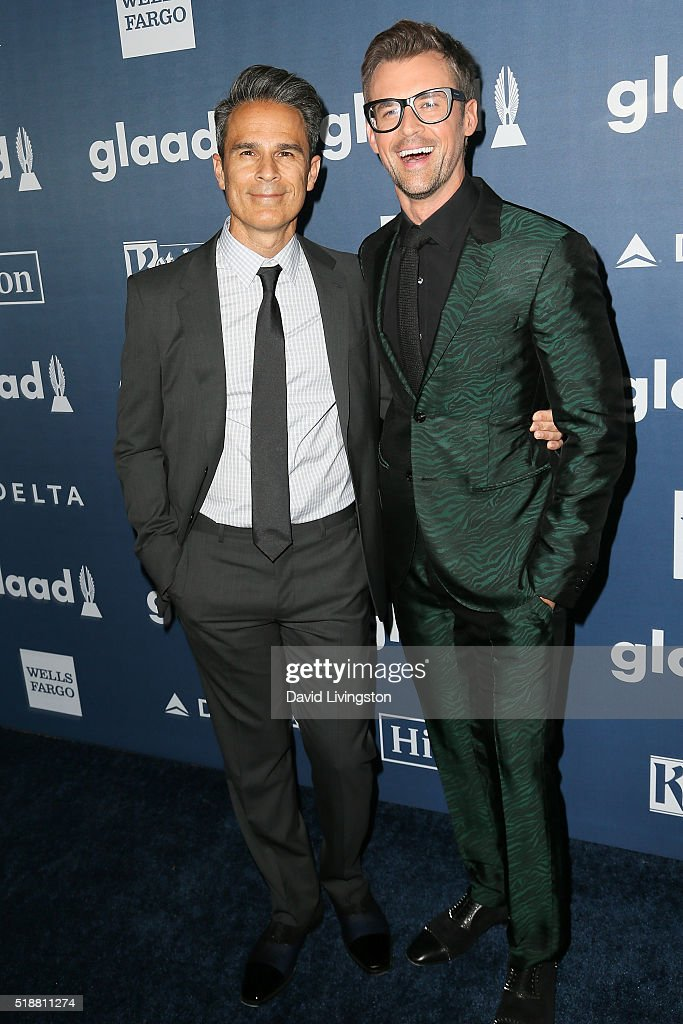 Producer Gary Janetti and television personality Brad Goreski arrive at the 27th Annual GLAAD Media Awards at The Beverly Hilton Hotel on April 2, 2016 in Beverly Hills, California.