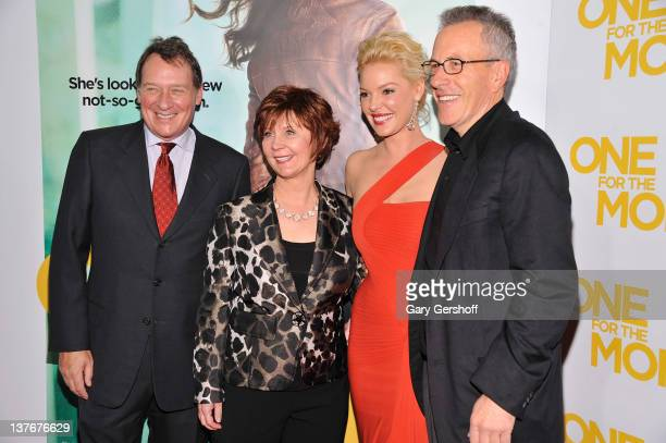 Producer Gary Lucchesi novelist Janet Evanovich actress Katherine Heigl and producer Tom Rosenberg attend the One for the Money premiere at the AMC...