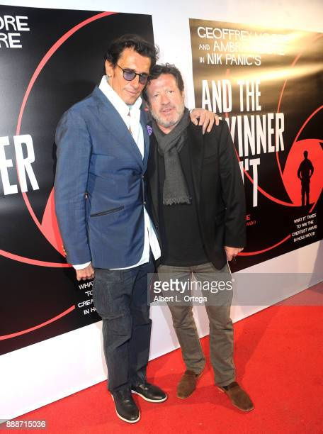 Producer Geoffrey Moore and actor Joaquim de Almeida arrive for the Premiere Of And The Winner Isn't at Laemmle Music Hall on December 8 2017 in...