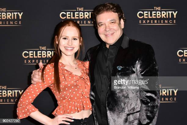 Producer George Caceres and actor Madelaine Petsch speak on stage at The Celebrity Experience at Hilton Universal Hotel on January 7 2018 in Los...
