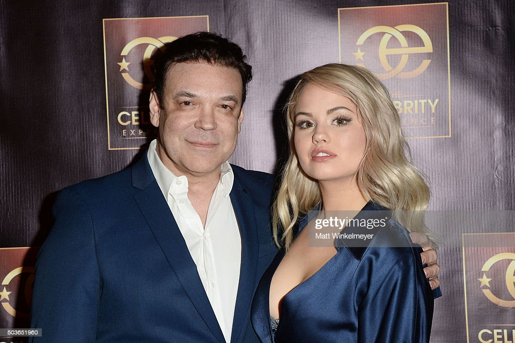 Producer George Caceres(L) and actress Debby Ryan(R) arrive at The Celebrity Experience with Debby Ryan at Hilton Universal Hotel on January 6, 2016 in Los Angeles, California.