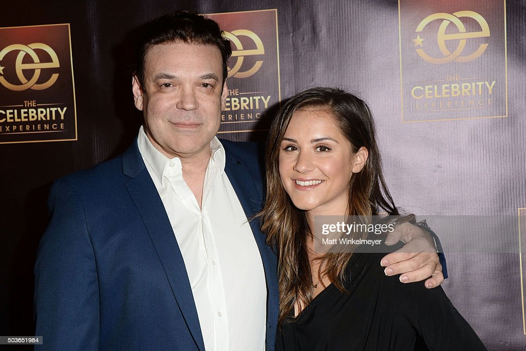 Producer George Caceres(L) and TV Personality Electra Formosa(R) arrive at The Celebrity Experience with Debby Ryan at Hilton Universal Hotel on January 6, 2016 in Los Angeles, California.