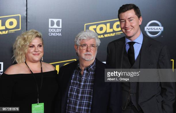 """Producer George Lucas with daughter and son arrive for the Premiere Of Disney Pictures And Lucasfilm's """"Solo: A Star Wars Story"""" held on May 10, 2018..."""
