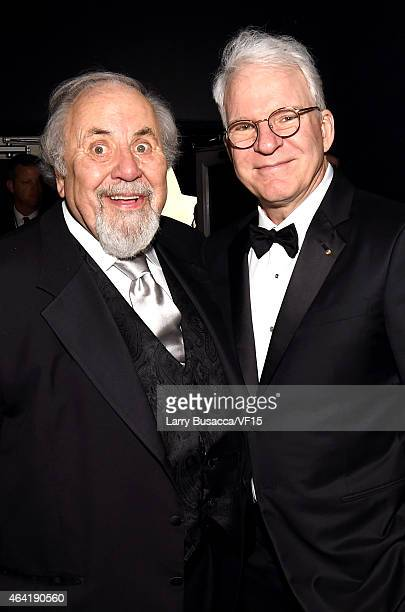 Producer George Schlatter and actor/comedian Steve Martin attend the 2015 Vanity Fair Oscar Party Viewing Dinner hosted by Graydon Carter at the...