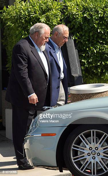 Producer George Schlatter leaves Cyd Charisse's Funeral at the Hillside Memorial Park June 22 2008 in Los Angeles California