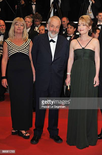 Producer Georgina Lowe Director Mike Leigh and actress Lesley Manville attend the Another Year Premiere at the Palais des Festivals during the 63rd...