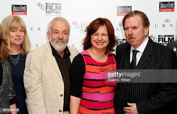 Producer Georgina Lowe director Mike Leigh festival director Clare Stewart and actors Timothy Spall attend the red carpet of 'Mr Turner' during the...