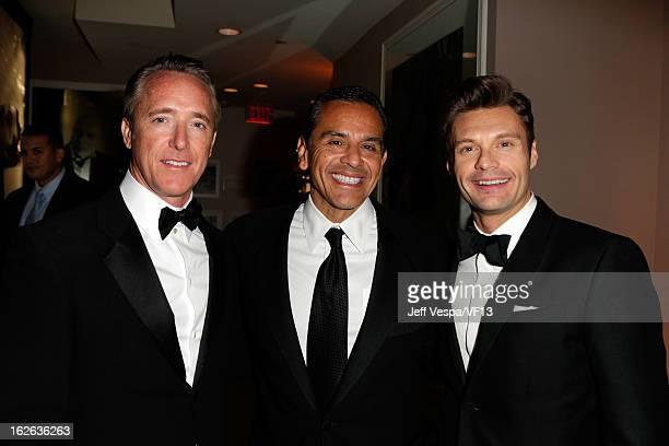 Producer Geyer Kosinski, Los Angeles Mayor Antonio Villaraigosa, and Ryan Seacrest attend the 2013 Vanity Fair Oscar Party hosted by Graydon Carter...
