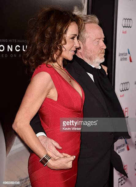 """Producer Giannina Facio and Producer Ridley Scott attend the Centerpiece Gala Premiere of Columbia Pictures' """"Concussion"""" during AFI FEST 2015..."""