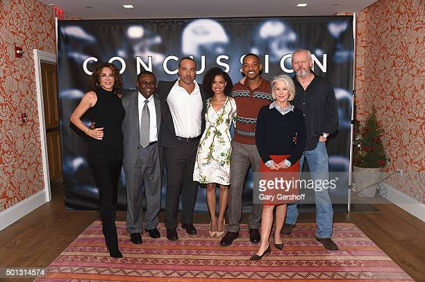 Producer Giannina Scott, Dr. Bennet Omalu, director Peter Landesman, actors Gugu Mbatha-Raw and Will Smith, producer Elizabeth Cantillon and actor...