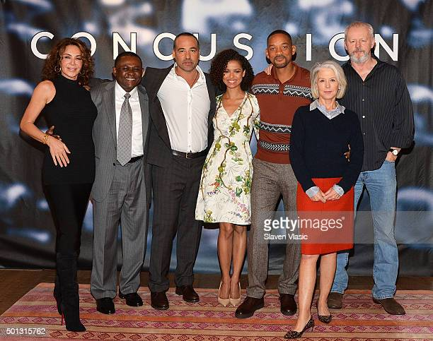 Producer Giannina Scott, Dr. Bennet Omalu, director Peter Landesman, actors Gugu Mbatha-Raw, Will Smith, producer Elizabeth Cantillon and actor David...