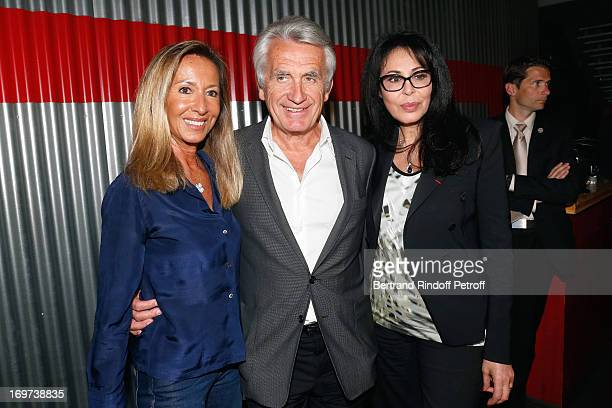 Producer Gilbert Coullier with his wife Nicole and French Minister Yamina Benguigui backstage after Patrick Bruel's concert at Zenith de Paris on May...