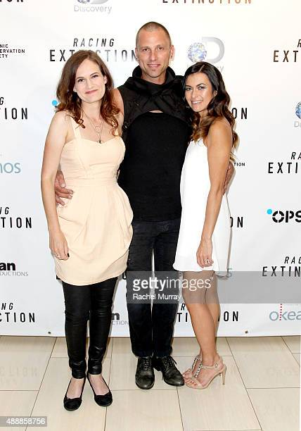 Producer Gina Papabeis Tom Sepe and Film Subject Leilani Munter attend the Los Angeles premiere of RACING EXTINCTION at The London West Hollywood on...
