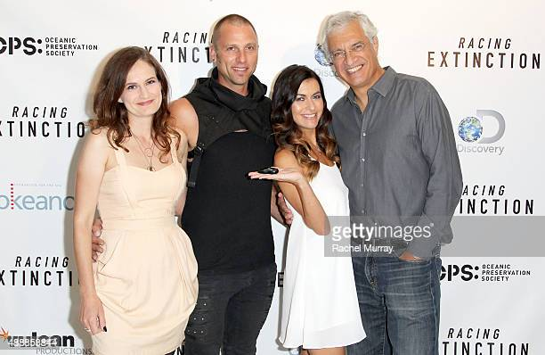 Producer Gina Papabeis Tom Sepe Film Subject Leilani Munter and Director Louis Psihoyos attend the Los Angeles premiere of RACING EXTINCTION at The...