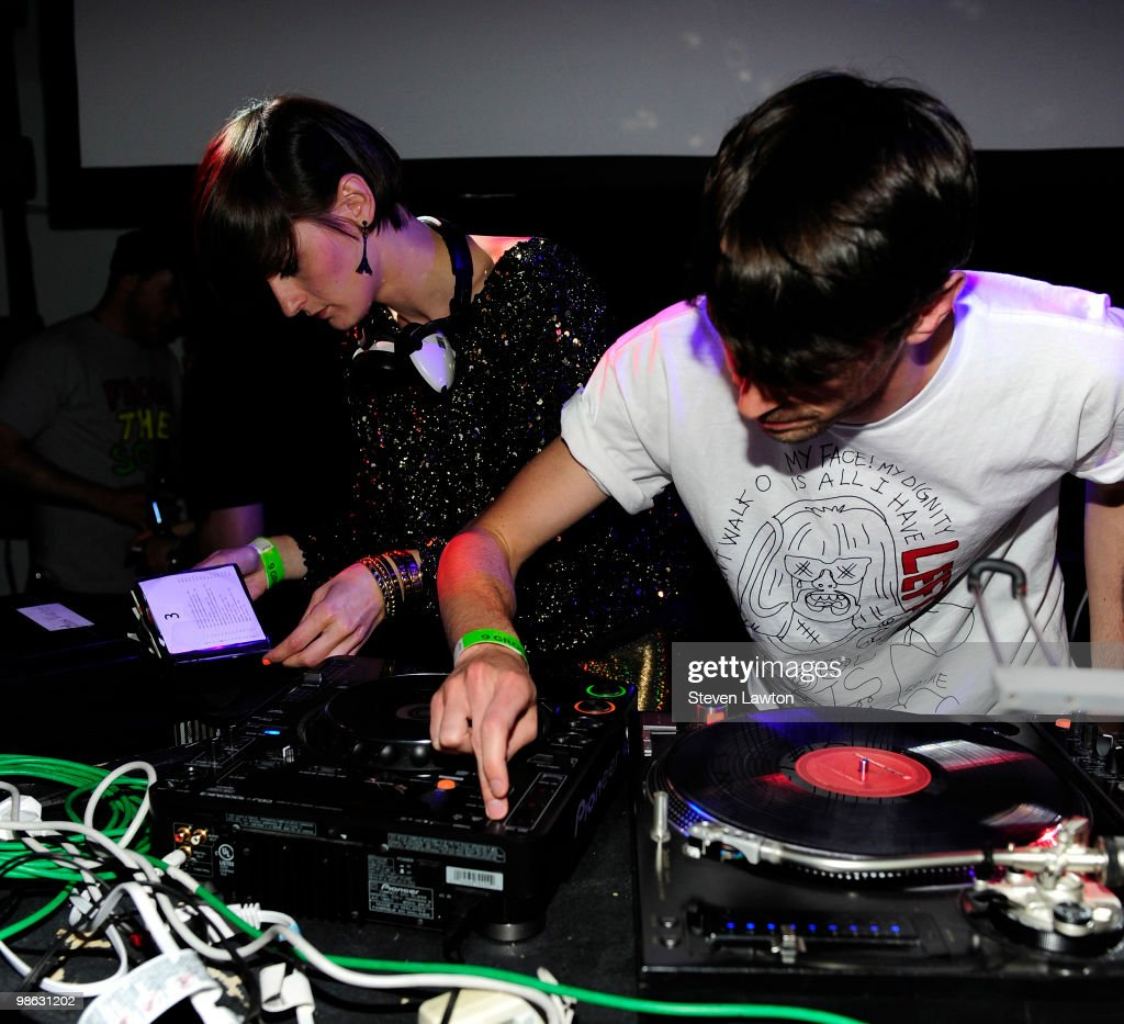Producer Grand Marnier (R) and french singer Yelle perform at Down & Derby Roller-Disco inside the Rain Nightclub on April 22, 2010 in Las Vegas, Nevada.