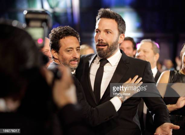Producer Grant Heslov and director Ben Affleck attend the Critics' Choice Movie Awards 2013 with Champagne Nicolas Feuillatte at Barkar Hangar on...