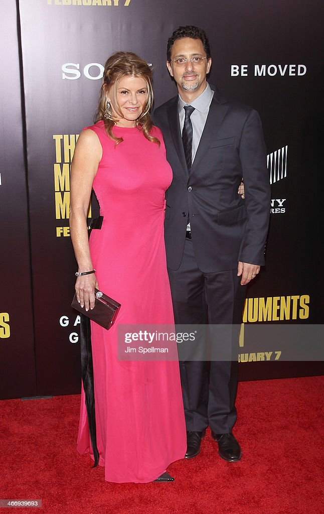 Producer Grant Heslov (R) and wife Lysa Hayland attend the 'Monument Men' premiere at Ziegfeld Theater on February 4, 2014 in New York City.