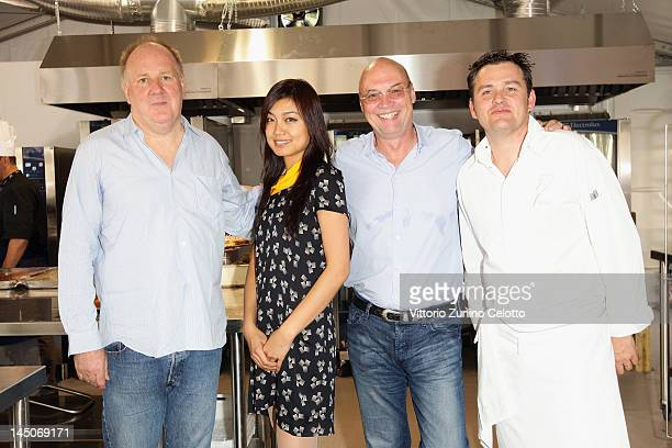 Producer Grant Hill actress Sharon Zhang producer Moritz Borman and Chef Bruno Oger attend Chef's Table By Electrolux during the 65th Annual Cannes...