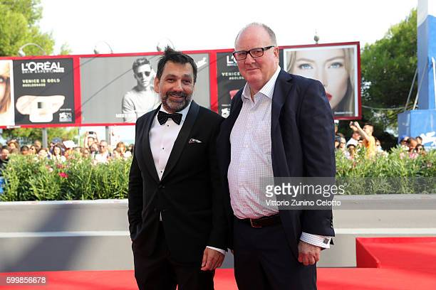 Producer Grant Hill and producer Sophokles Tasioulis attend a premiere for 'Voyage Of Time Life's Journey' during the 73rd Venice Film Festival at...