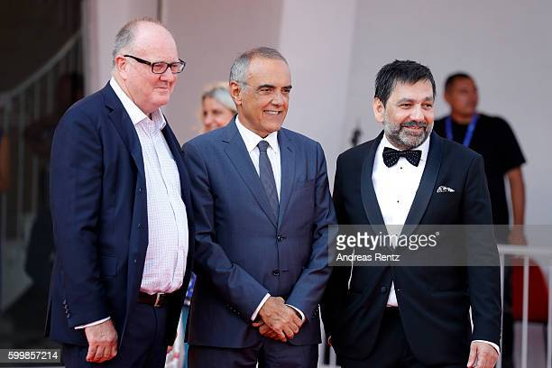 Producer Grant Hill director of festival Alberto Barbera and producer Sophokles Tasioulis attend a premiere for 'Voyage Of Time Life's Journey'...