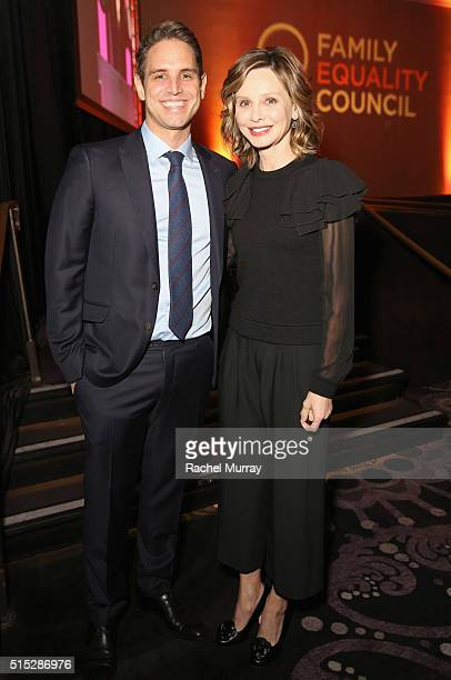Producer Greg Berlanti and actress Calista Flockhart attend the Family Equality Council Impact Awards on March 12 2016 in Beverly Hills California
