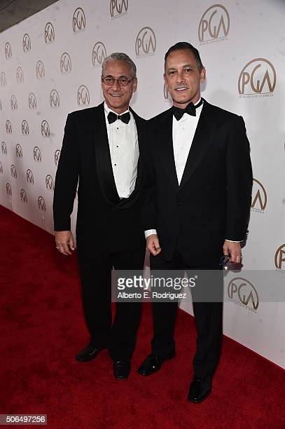 Producer Greg Louganis and Johnny Chaillot attend the 27th Annual Producers Guild Of America Awards at the Hyatt Regency Century Plaza on January 23...