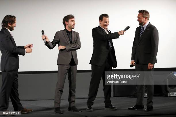 Producer Greg Shapiro Wayne Roberts Johnny Depp and Steven Gaetjen speak at a QA during the 'Richard Says Goodbye' premiere during the 14th Zurich...