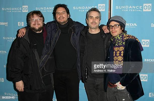 Producer Guillermo del Toro director Carlos Cuaron producer Alfonso Cuaron and actor Gael Garcia Bernal attend the premiere of Rudo Y Cursi held at...