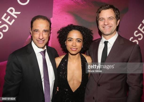 Producer Hal Luftig Lauren Ridloff and Joshua Jackson pose at the opening night after party for the play 'Children of a Lesser God' on Broadway at...